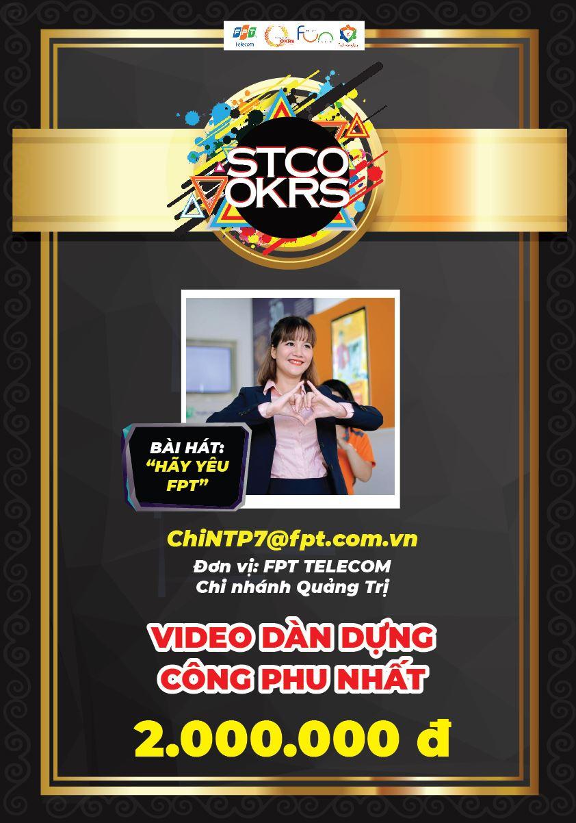 """Video """"Hãy yêu FPT"""" của chịNguyễn Thị Phương Chi - FPT Telecom Quảng Trịdựa trên nền nhạc ca khúc """"Người hãy quên em đi"""" đạt giải video dàn dựng công phu nhất trị giá 2 triệu đồng."""