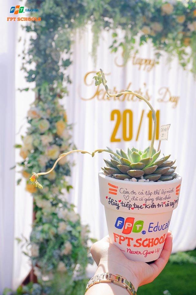 """Một chậu cây được trang trí bằng những dòng chữ ý nghĩa: """"Cảm ơn cả tập thể lớp mình... đã cố gắng thật nhiều. Hãy tiếp tục kiên trì và say mê...""""."""