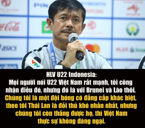 HLV U22 Indonesia phát biểu tự tin trước trận gặp U22 Việt Nam.