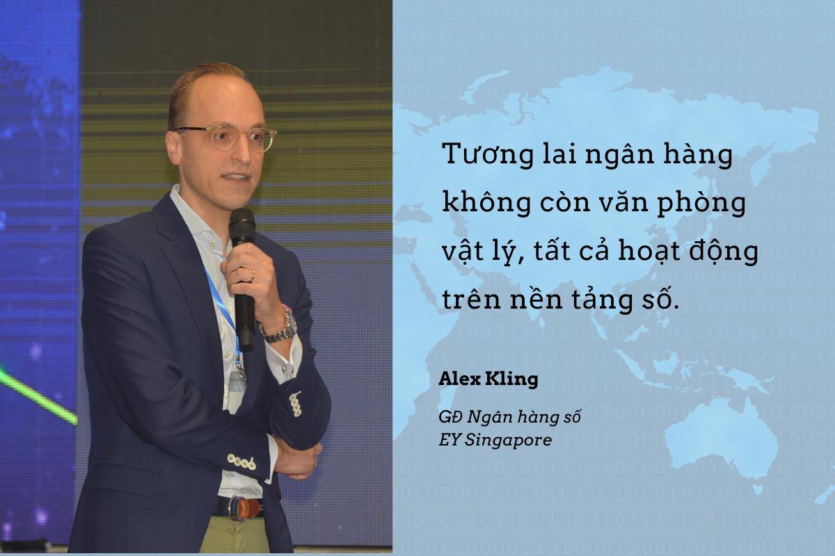 Ông Alex Kling nhận định hoạt động của ngành ngân hàng đang đi từ mô hình truyền thống với các giao dịch vật lý sang mô hình ngân hàng số với những hoạt động chủ yếu trên điện thoại và máy tính. Điều này có lợi cho đôi bên. Về khách hàng, mọi giao dịch tiện lợi, nhanh chóng, dễ dàng hơn. Còn đối với doanh nghiệp, chi phí vận hành giảm đồng thời dữ liệu khách hàng được ghi lại chính xác.