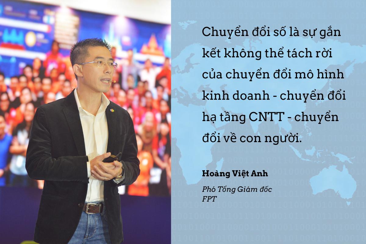 PTGĐ FPT Hoàng Việt Anh nhấn mạnh trong thập kỷ qua, FPT có cơ hội tham gia hàng nghìn dự án chuyển đổi số cùng các đối tác và khách hàng toàn cầu. Từ những dự án đó, FPT lớn lên, tích luỹ được những kiến thức và kinh nghiệm trong lĩnh vực chuyển đổi số, đồng thời tự đúc kết những kinh nghiệm, bài học riêng. Một trong số đó là bài học về sự chuyển đổi gắn kết của ba đối tượng: mô hình kinh doanh, hạ tầng CNTT và con người.