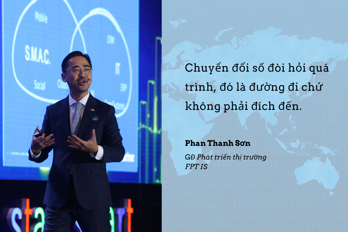 Sẽ có 3 bước tiến khi chúng ta tiến vào kỷ nguyên 4.0. Đầu tiên là tốc độ thay đổi lớn. Để có 50 triệu người dùng trước đây mất 10 năm, còn bây giờ chỉ mất 2-3 năm, quy mô nhân rộng có thể lên phạm vi toàn cầu. Tiếp theo là kết hợp những ngành truyền thống và công nghệ trở thành một ngành mới. Tương lai các công ty phải trở thành công ty công nghệ mới có thể sống sót. Cứ vậy tất cả kết nối với nhau trong một chuỗi, chuyển thành bức tranh tổng thể chung giữa các lĩnh vực tưởng chừng không có sự liên quan. Cuối cùng là thiết kế lại doanh nghiệp, đưa tất cả nguyên liệu có gồm sinh học, vật lý, công nghệ cốt lõi… để thiết kế lại doanh nghiệp ngành, tất cả có thể tiến hành song song.
