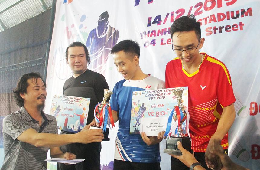 Vô địch nội dung đôi nam cầu lông thuộc về Quốc Kiên và Minh Quân, FPT Software. Hồng Nam và Thái Hiền, FPT Software, về Nhì nội dung đôi nam. Giải Ba được trao cho Đắc Diệu và Ngọc Đạt, FPT Software.