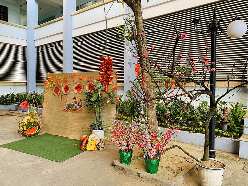 Sân trường FPT Polytechnic Đà Nẵng không hề thua kém với việc bố trí hoa tươi và tiểu cảnh Tết cổ truyền của người Việt.
