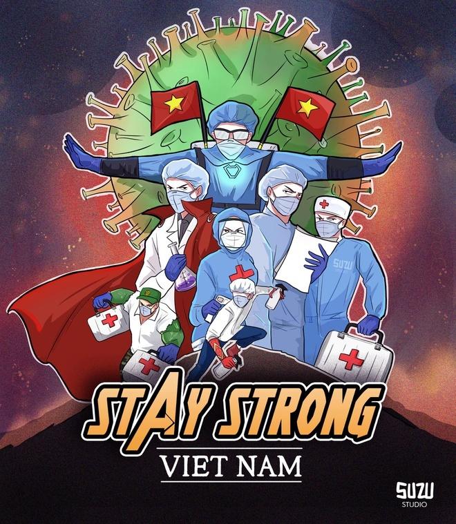 """""""Cảm ơn các y bác sĩ, nhân viên y tế đã và đang chiến đấu hết mình vì một Việt Nam khỏe mạnh, vượt qua đại dịch Covid-19. Cộng đồng hãy cùng nỗ lực chung tay với họ để mau chóng đẩy lùi dịch"""" - lời tri ân đội ngũ y tế đi kèm bộ tranh """"Stay strong Vietnam"""" hay """"Cố lên Việt Nam"""" đang thu hút sự chú ý trong cộng đồng mạng."""
