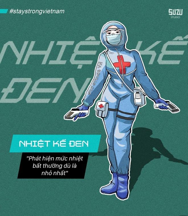 Dưới nét vẽ sáng tạo của tác giả, hình ảnh y bác sĩ Việt Nam được khắc họa mạnh mẽ, kiên cường qua hình tượng các nhân vật siêu anh hùng nổi tiếng thuộc Vũ trụ điện ảnhMarvel(MCU) như Iron Man, Hulk, Doctor Strange, Spider Man, Black Widow và Hawkeye.