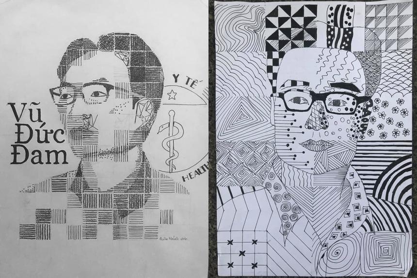 Đây là bài tập cá nhân vẽ tay chủ đề chân dung nhân vật của các sinh viên, thành quả chỉ sau 2 buổi học online.