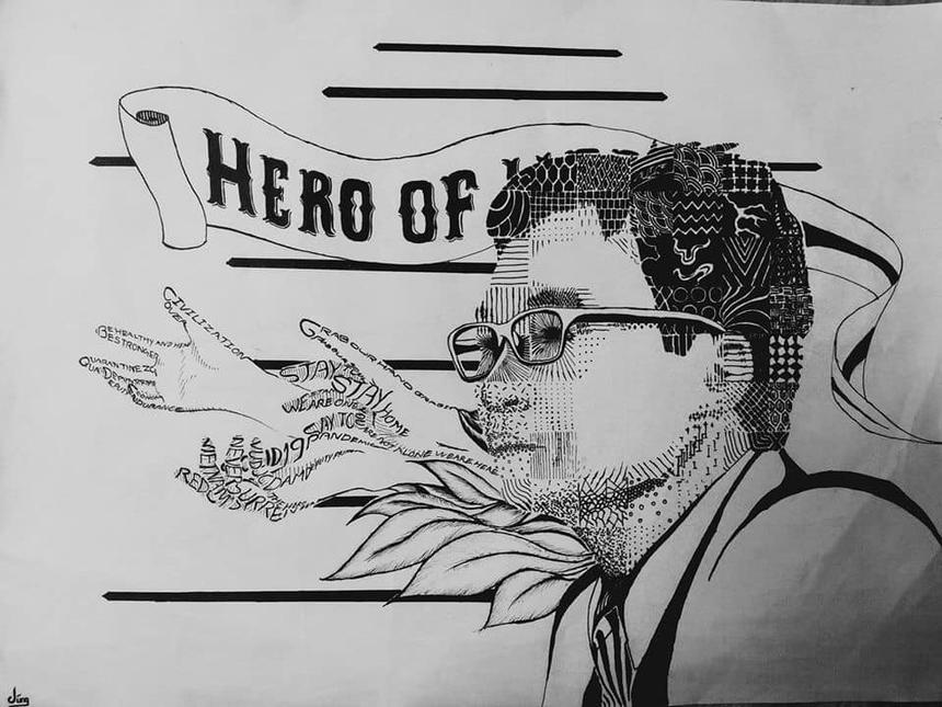 """""""Vì đây là bài vẽ về người hùng của Việt Nam nên khi vẽ tụi mình để nhiều tâm sức hơn bình thường .Từ lúc mới vào học đến giờ thì chắc đây là sản phẩm mình dành nhiều thời gian nhất, mất đến hơn 10 tiếng để hoàn thiện. Học online nhưng thầy chữa bài còn kỹ hơn bình thường luôn"""", bạn Nguyễn Đăng Dũng, sinh viên lớp GD 1502A, K15 ngành Thiết kế Đồ hoạ chia sẻ."""