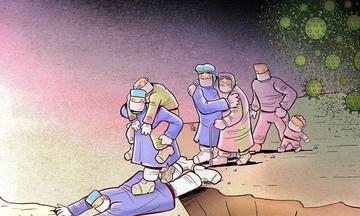 Nghệ sĩ Iran vẽ tranh tri ân những chiến sĩ tuyến đầu