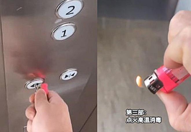Bề mặt các nút bấm của thang máy tại chung cư và các tòa nhà văn phòng được cho có nguy cơ lây lan virus corona nếu từng có người bị bệnh tiếp xúc. Tại nhiều khu vực ở Trung Quốc, trong các thang máy được trang bị sẵn khăn giấy, tăm để người dân dùng bấm nút, sau đó vứt đi. Một số người dùng đầu kim loại của bật lửa để ấn nút thang. Ngay sau đó bật lửa đốt nóng nơi tiếp xúc để khử trùng. Ảnh: The Paper