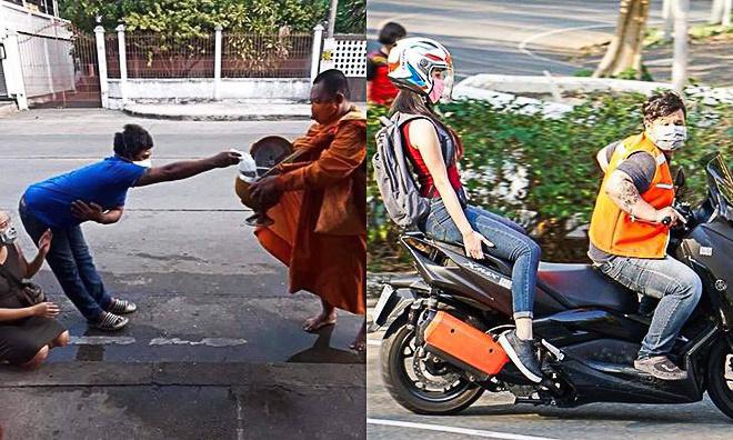 Yêu cầu cách ly xã hội khiến không ít khoảnh khắc hài hước xảy ra tại Thái Lan. Ảnh: Sanook