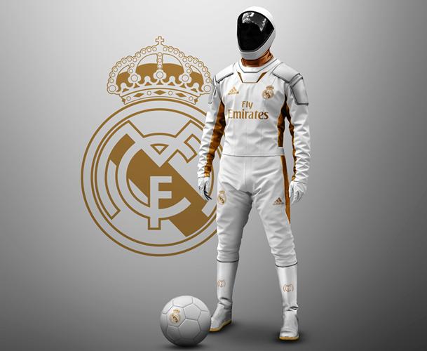 """Bộ trang phục này trông như đồ nghề của phi hành gia, kín như bưng từ đầu tới chân. Trong ảnh là """"quần áo thi đấu"""" của Real Madrid"""