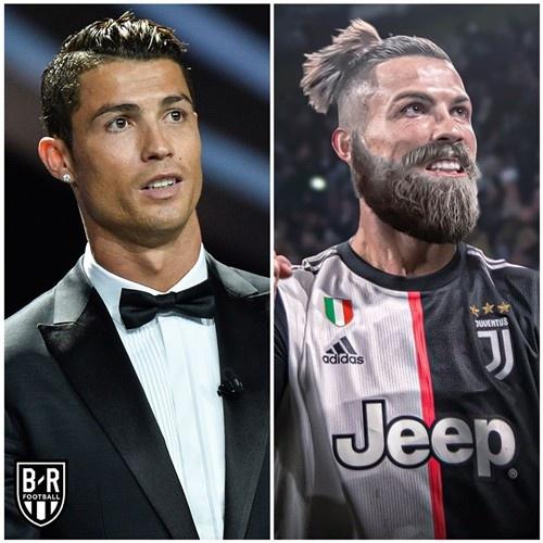"""Trang Bleacher Report cũng dí dỏm mô tả các ngôi sao """"xuống cấp"""" về ngoại hình sau kỳ nghỉ dài tránh dịch với râu ria xồm xoàm. Trong ảnh là Cristiano Ronaldo."""