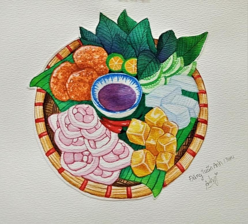 """Với niềm đam mê ẩm thực Việt, sinh viên Đặng Tuấn Anh còn giới thiệu món """"bún đậu mắm tôm"""" đặc trưng Hà Nội. Món ăn """"dậy mùi"""" này đã được chuyên trang du lịch """"The Culture Trip"""" xếp đầu danh sách 10 món ăn nổi tiếng Việt Nam."""