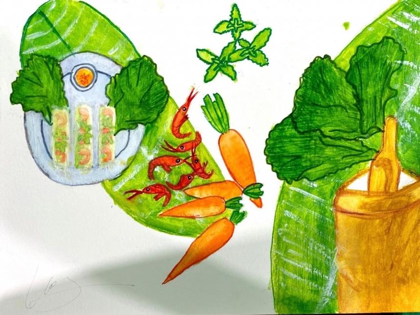 Bức tranh màu sáp của sinh viên Nguyễn Phương Thanh thể hiện hình ảnh các nguyên vật liệu như: tôm, rau, nước chấm... của món gỏi cuốn.