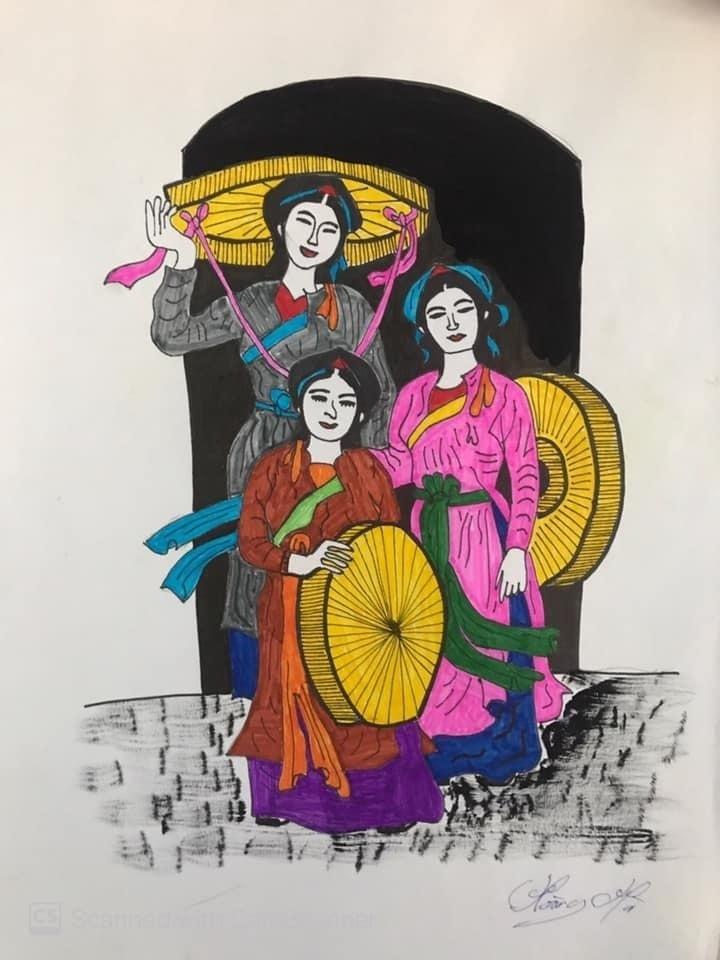 Hình ảnh nón quai thao và chiếc áo tứ thân gắn liền với các liền chị trong điệu dân ca quan họ Bắc Ninh được sinh viên Trần Hoàng Hà tái hiện bằng tranh màu nước.