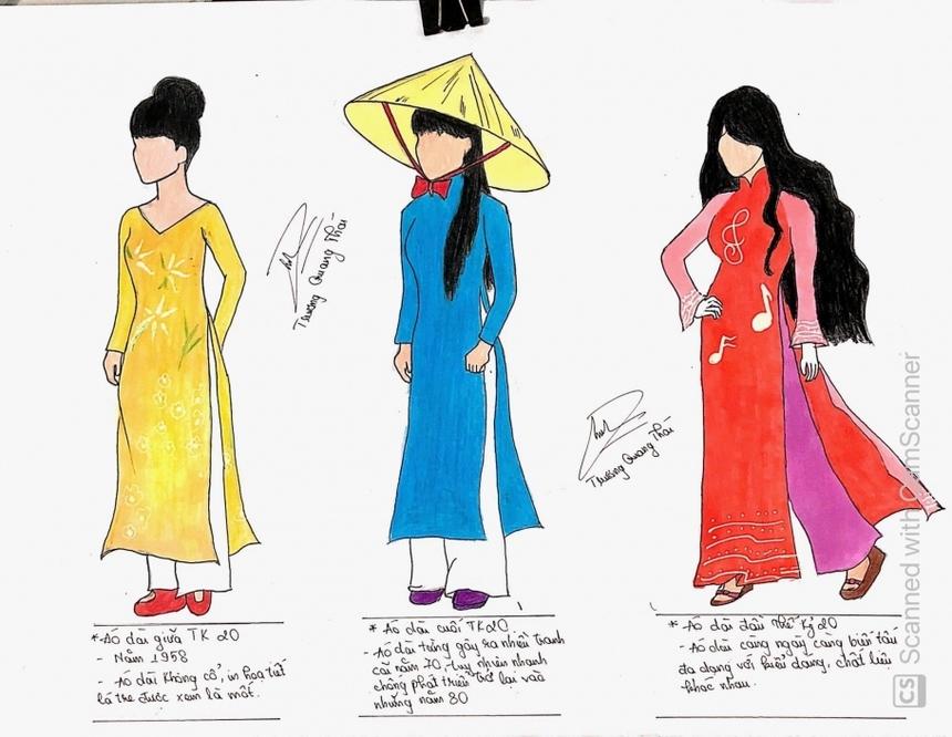 Sinh viên Trương Quang Thái giới thiệu các kiểu áo dài - trang phục truyền thống của người Việt, như: áo dài Trần Lệ Xuân, áo dài truyền thống và áo dài cách tân.