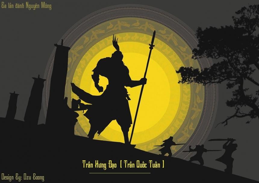 Sinh viên Trần Hoàng Vũ lại thiết kế bằng đồ họa máy tính hình ảnh Quốc công Tiết chế Trần Hưng Đạo.
