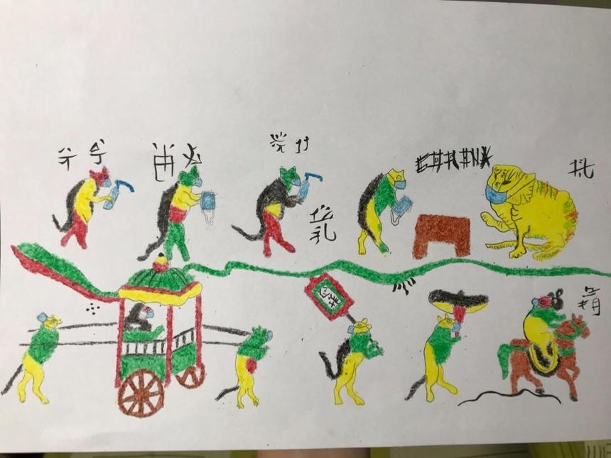 """Sinh viên Trần Huy tái hiện lại bức tranh dân gian Đông Hồ """"Đám cưới chuột"""".Những bức tranh này là bài tập cá nhân của môn Cơ sở văn hoá Việt Nam, do cô Kiều Thị Thu Chung (giảng viên ĐH FPT phụ trách) dành cho sinh viên Thiết kế Mỹ thuật số. Với yêu cầu chọn một chủ đề bất kỳ liên quan tới văn hoá Việt Nam và thể hiện nó bằng tác phẩm nghệ thuật, các bạn sinh viên đã mang đến những tác phẩm đặc sắc thể hiện óc sáng tạo của mình."""