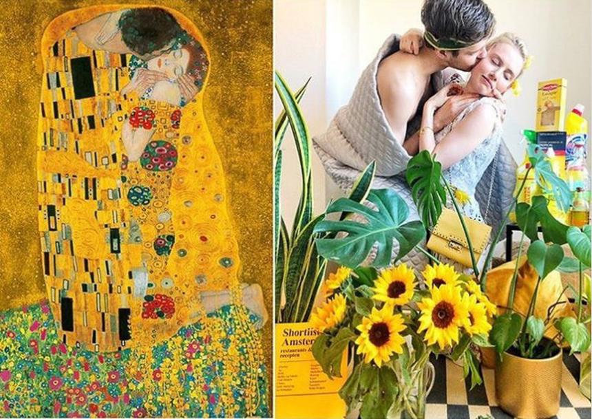 Một cặp đôi tái hiện khoảnh khắc trong bức họa nổi tiếng Nụ hôn - The Kiss - của Guvtas Klimt.