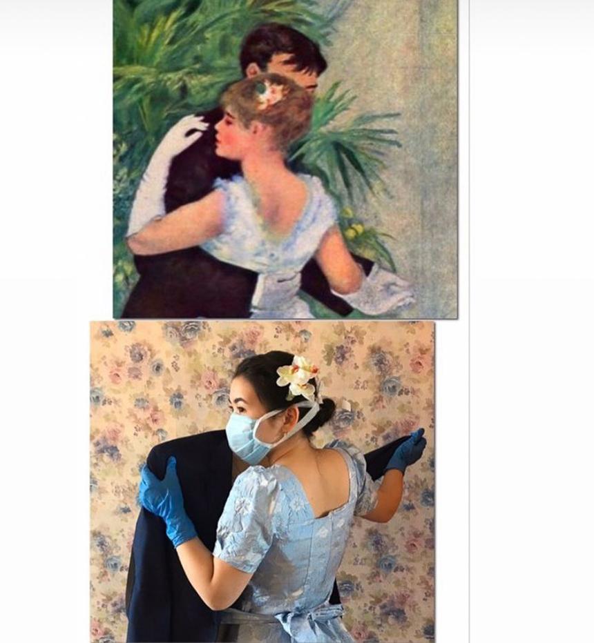 Khiêu vũ mùa dịch dù lãng mạn đến mấy vẫn không quên khẩu trang và găng tay!
