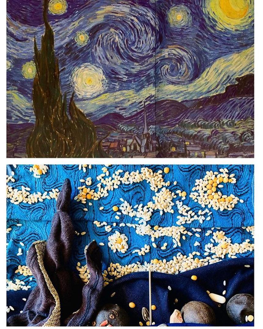"""Bức """"Đêm đầy sao"""" của Van Gogh khắc họa bầu trời đêm nổi tiếng nhất trong thế giới hội họa, được dân mạng tái hiện khá nhiều."""