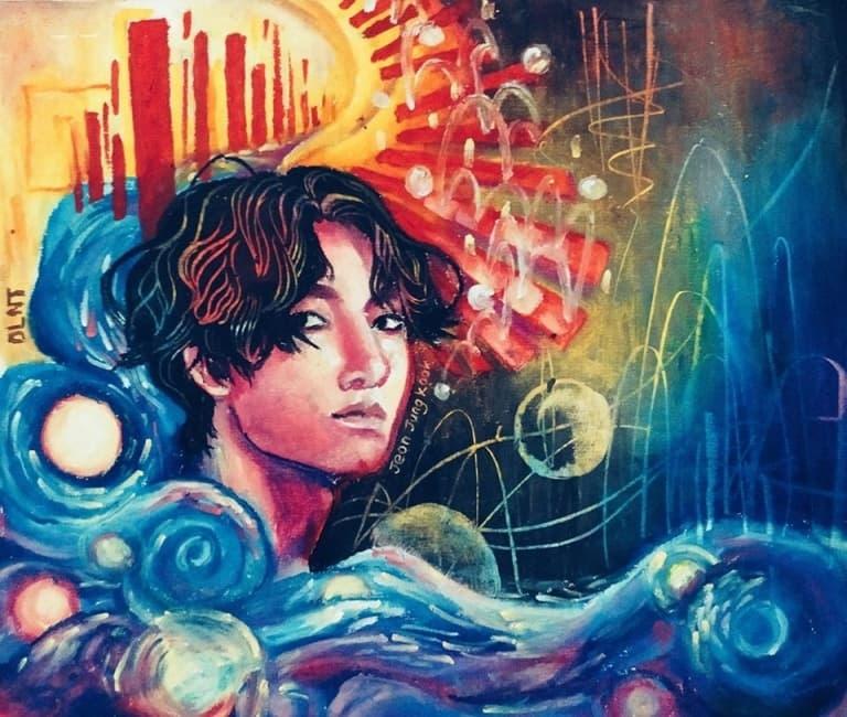 Bức tranh chân dung nam ca sĩ Jeon Jungkook (thành viên nhóm nhạc BTS) được thể hiện bằng màu sáp dầu, thông qua trí tưởng tượng của sinh viên Đào Lê Nhật Tân.