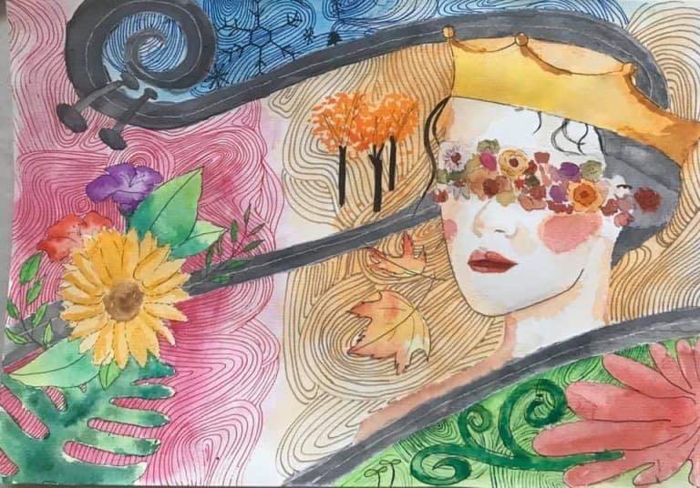 Sinh viên Huỳnh Chung Thùy gói ghém những nét đặc trưng của bốn mùa vào trong bức tranh chân dung, sau khi thưởng thức bản giao hưởng của nhà soạn nhạc Vivaldi.