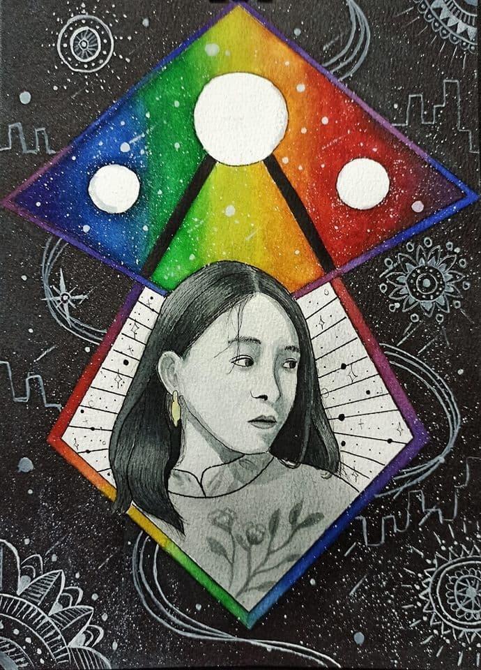 """Bức tranh vẽ chân dung người yêu của sinh viên Đặng Tuấn Anh đã khái quát những hình ảnh nổi bật thông qua bản giao hưởng """"Bốn mùa""""."""