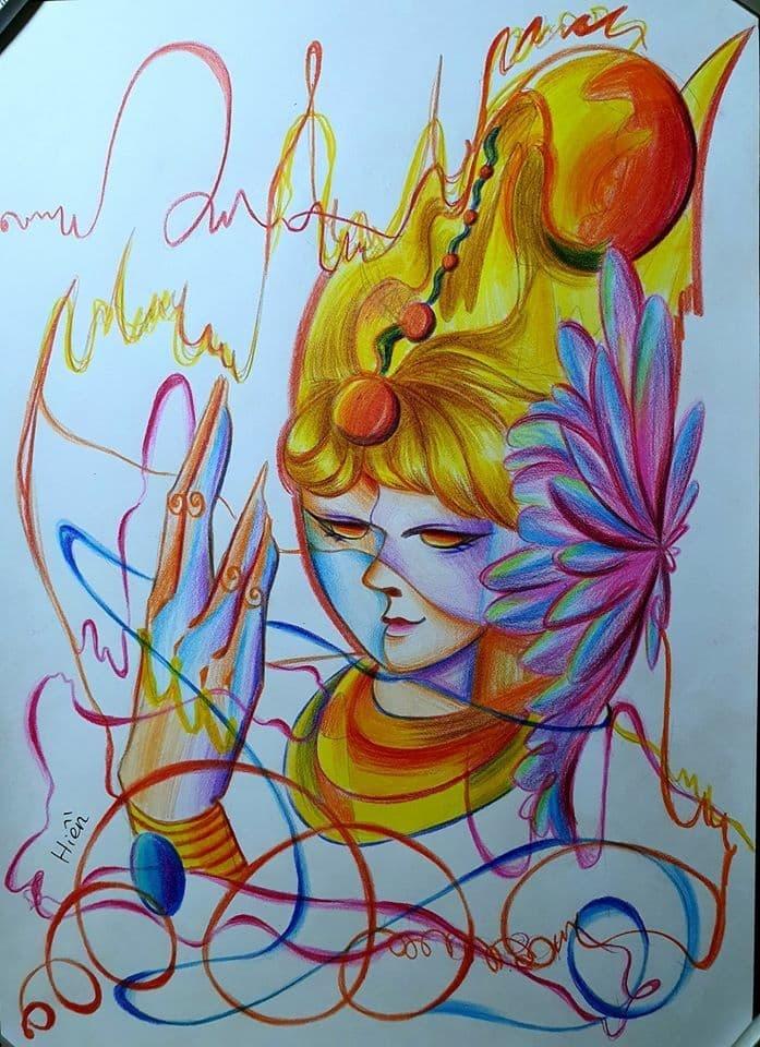 Sinh viên Bùi Thúy Hiện tự họa bức tranh chân dung bằng bút chì sáp với những màu sắc: đỏ, vàng, lục, lam tượng trưng cho bốn mùa.