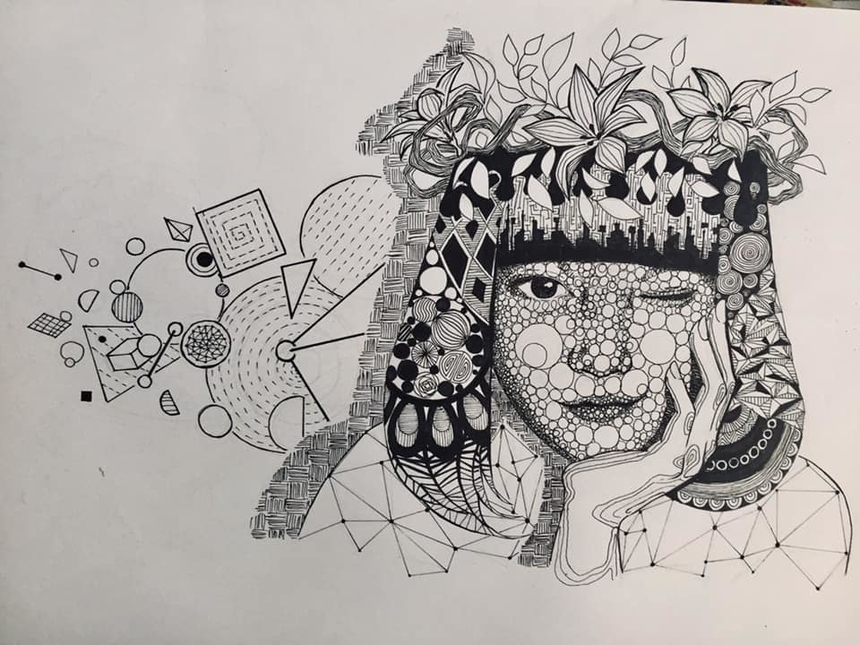 """""""Cũng nhờ thử thách khó khăn này mình cũng đã chịu bước ra khỏi vùng an toàn và lần đầu dùng đến chất liệu khác ngoài bút lông để vẽ. Ngoài ra, mình cũng học được rằng tự học là chính và nên đôi lúc thử thách bản thân với những điều mới lạ"""", sinh viên Huỳnh Thị Thảo Uyên chia sẻ."""