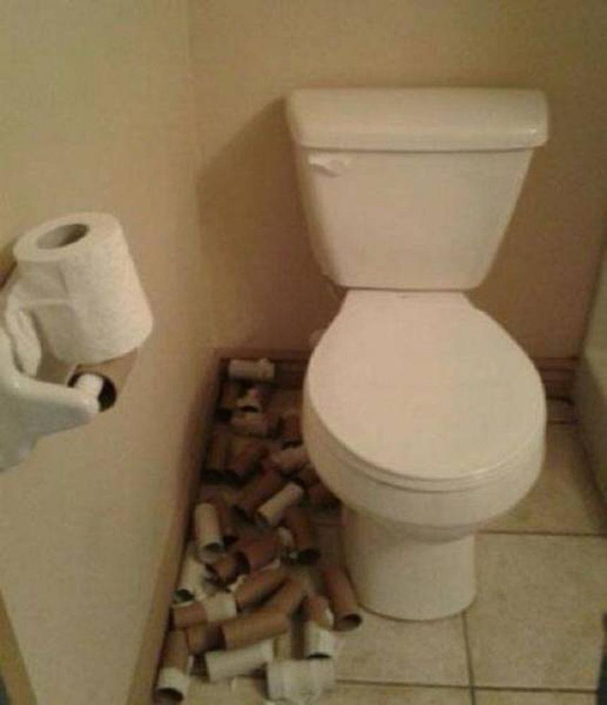 Lười hay chỉ là muốn sưu tầm lõi giấy vệ sinh?