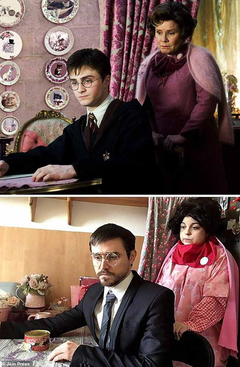 Cảnh Harry Potter và giáo sư Umbridge trong tập Mệnh lệnh phượng hoàng được mô phỏng đầy thần thái.
