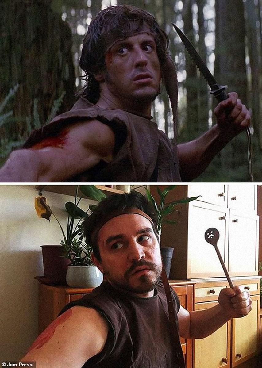 Rambo phiên bản an toàn, thay dao kiếm thành muỗng ăn cho thân thiện.