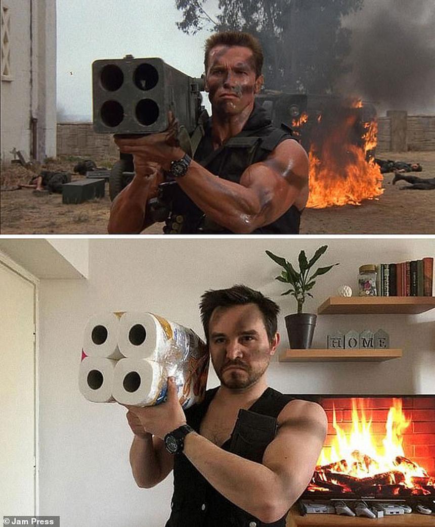 Tích trữ giấy vệ sinh để cosplay Arnold Schwarzenegger trong Commando.