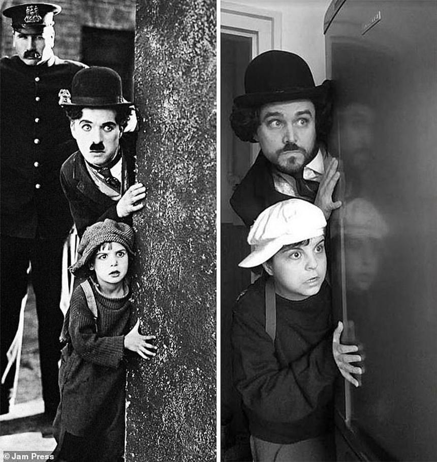 Sử dụng filter trắng đen để cosplay luôn cả Charlie Chaplin - bậc thầy hài kịch của thế giới.