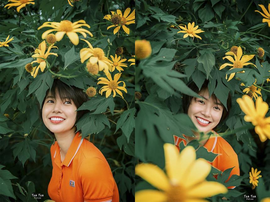 """Bộ ảnh gây ấn tượng với người xem bởi nụ cười rạng rỡ của Thu Uyên và sắc vàng hoa dã quỳ. Thu Uyên được ví như """"Suzy phiên bản Việt"""" - nữ ca sĩ xinh đẹp nổi tiếng Hàn Quốc thuộc nhóm nhạc Miss A."""