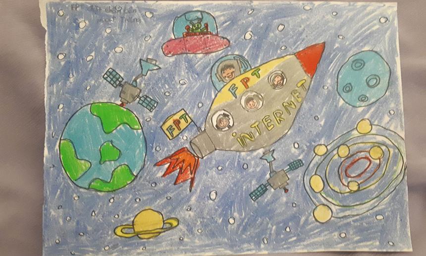 BéNguyễn Nguyệt Cát Tiên (con chị Nguyễn Nguyệt Oanh - FPT Telecom PMB HCM) tưởng tượng ngàyFPT đặt chân lên mặt trăng.