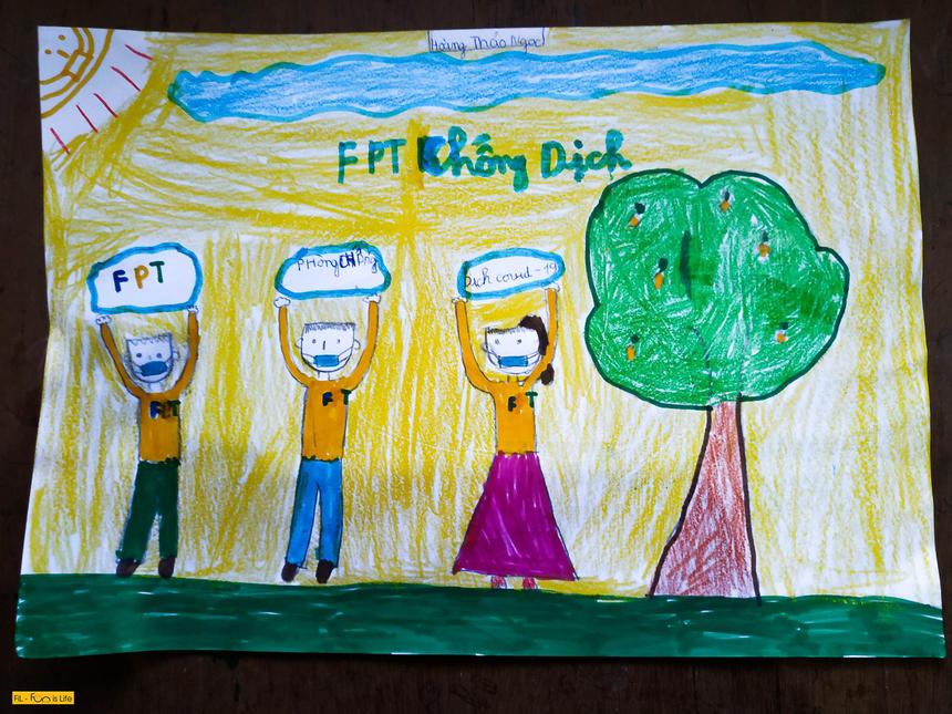 """FPT Small Hoàng Thảo Ngọc (con anh Hoàng Văn Thuận - FPT TelecomNOCmiền Bắc) gửi đến tác phẩm """"FPT Chống dịch""""."""