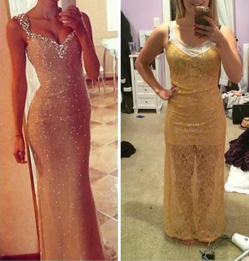 Từ kiểu dáng, chất liệu tới cách trang trí giữa chiếc váy nhận được (phải) và ảnh trên mạng không có chút nào liên quan.