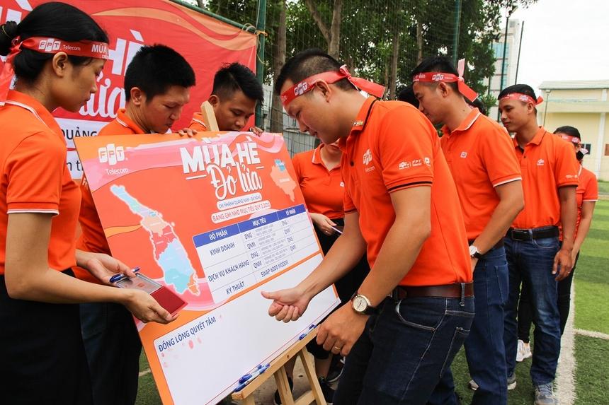 Ở cuối sự kiện, các CBNV FPT Telecom Đà Nẵng, Quảng Nam đã in dấu tay 'đồng lòng quyết tâm' vào tấm bảng mục tiêu 'Mùa hè đỏ lửa' của chi nhánh.