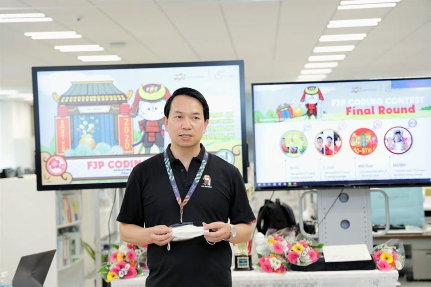 Vòng chung kết cuộc thi diễn ra vào ngày 1/8 tại văn phòng Daimon, Tokyo. Phát biểu khai mạc, CEO FPT Japan Nguyễn Việt Vương gửi lời chúc mừng tới các đội thi. Anh Vương cho biết sân chơi công nghệ FJP Coding Contest là rất cần thiết, đặc biệt trong dịch Covid-19. Đây cũng là cơ hội để CBNV ôn luyện lại các kỹ năng coding, nâng cao tay nghề.
