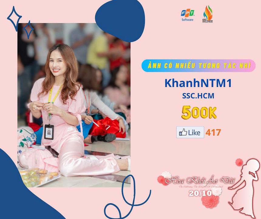 Chị Nguyễn Thụy Mai Khanh (SSC) với bức ảnh có lượng tương tác cao thứ Nhì. Cuộc thi diễn ra khắp các miền dưới hình thức online, với nhiều hạng mục, giải thưởng hấp dẫn, cùng tổng trị giá giải thưởng lên đến 50 triệu đồng.