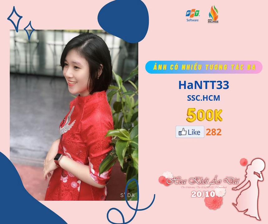 Nguyễn Thị Thu Hà (SSC) sở hữu bức ảnh có nhiều tương tác thứ Ba.