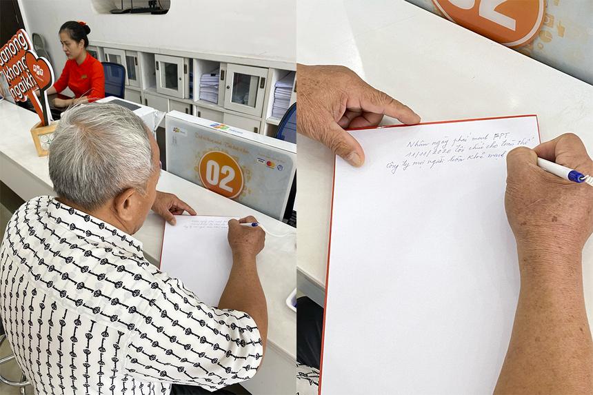 """Để cảm ơn về phần quà đặc biệt, bác Cao Hoàng Hùng (72 tuổi, Hạ Long) đã viết thư cho các giao dịch viên tại FPT Telecom chi nhánh Quảng Ninh, khiến mọi người không khỏi xúc động. """"Nhân ngày phái mạnh FPT tổ chức, tôi chúc cho toàn thể công ty mọi người đều khỏe mạnh vui vẻ, luôn đổi mới phong cách làm việc. Từ đó, công ty phát triển, phủ sóng trên toàn quốc, kết nối niềm vui cho mọi người"""", bác Hùng viết."""