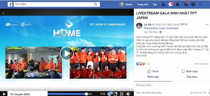 Ngoài 2 đầu cầu Hòa Lạc - Nhật Bản, trong lúc sự kiện diễn ra, tại hàng nghìn điểm cầu khác, các CBNV FPT Japan và người thân cũng đang xem chương trình thông qua livestream.