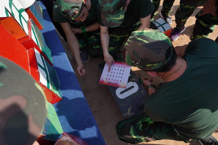 Giải mã tọa độ là phần thi tiếp theo. Đây là sự kết hợp của việc giải bảng mã semaphore và bắn trúng mục tiêu.