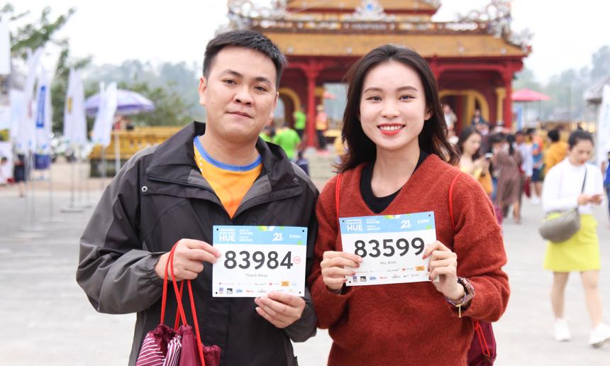 Giải chạy tại Huế thu hút rất đông các runner từ TP Đà Nẵng.Chị Hồ Thị Ngọc Hiếu, FPT Software Đà Nẵng, cho biết toàn bộ VĐV nhà F tại công ty đã cùng hẹn nhau lúc 15h để ra nhận bib.