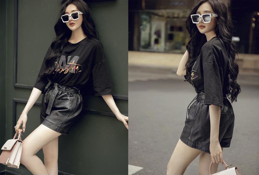 Trong hình ảnh khác, Quỳnh Như đầy cá tính với phong cách streetstyle. Quỳnh Như hiện là gương mặt đại diện khá quen thuộc với nhiều nhãn hàng nổi tiếng.