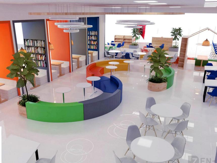 Toàn bộ tầng 1 dành cho dịch vụ sinh viên và trung tâm thư viện. Tầng 2 và Tầng 3 là khu vực của hội trường lớn, phòng học và các phòng chức năng.